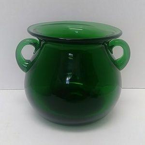 Handblown green art glass vase with handles